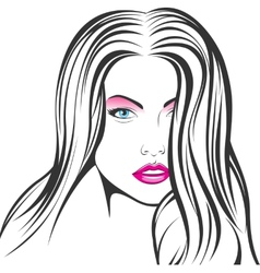 face of a beautiful girl vector image