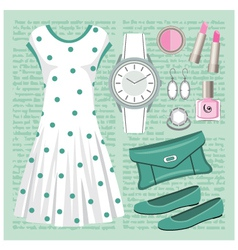 Fashion set in pastel tones with a dress vector