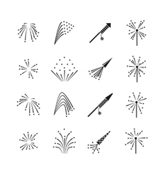 Firework explosion effects set vector image