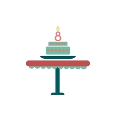 Flat icon on white background candle cake vector
