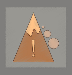 flat shading style icon mountain stones fall vector image