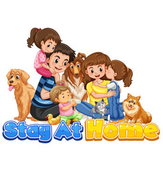 font design for words stay at home with happy vector image