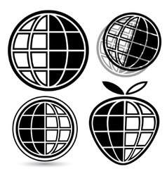 Globe logo set vector