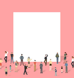 group people with big board vector image