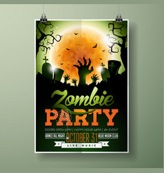 halloween zombie party flyer vector image
