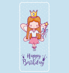 happy birthday with cute fairy card vector image