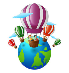 Happy cartoon kids inside a hot air balloon flying vector