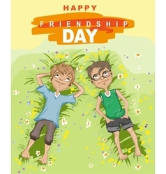 Happy friendship day Two boy lying on green grass vector image