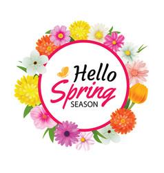 Hello spring circle frame greeting card vector