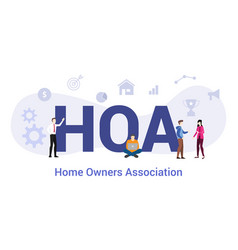 Hoa home owners association concept with big word vector