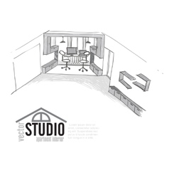 Home Office Interior Sketch vector