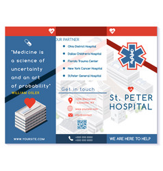 Hospital trifold brochure medical clinic blue vector