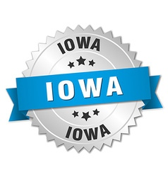 Iowa round silver badge with blue ribbon vector