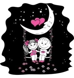 Love couple sitting at night on a swing attached vector