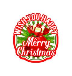 merry christmas santa gift bag holiday icon vector image
