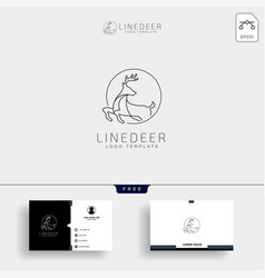 Minimal deer outline or line art logo template vector