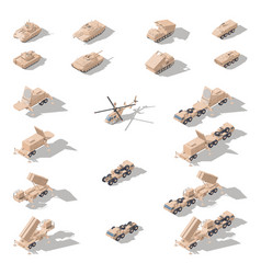 Modern military equipment in desert camouflage vector