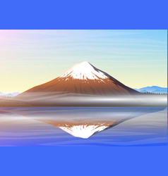 Mountain fuji morning panoramic view with vector