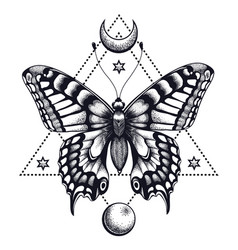 Mystical butterfly in triangle and half moon vector