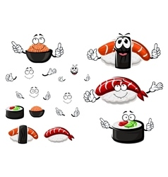 Nigiri sushi red caviar and sushi roll vector image