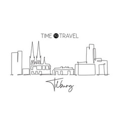 one continuous line drawing tilburg city vector image