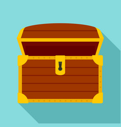 Open treasure chest icon flat style vector