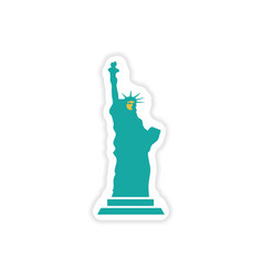 paper sticker The Statue of Liberty on white vector image
