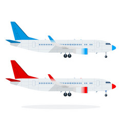 Passenger airliners flat material design isolated vector