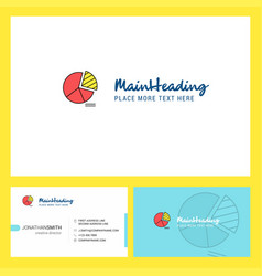 Pie chart logo design with tagline front and vector