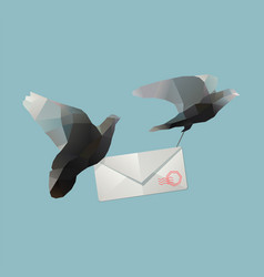 pigeons with envelope vector image