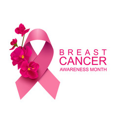 pink ribbon and red flower symbol campaign breast vector image