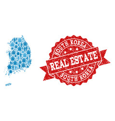real estate composition of mosaic map of south vector image