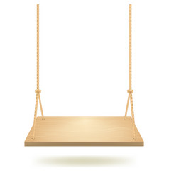 realistic detailed 3d hanging wooden swing vector image