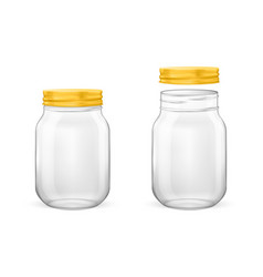 realistic empty glass jar for canning and vector image