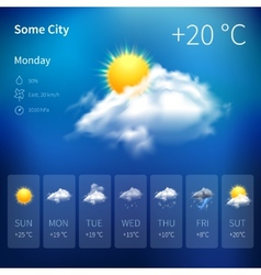 Realistic weather widget vector
