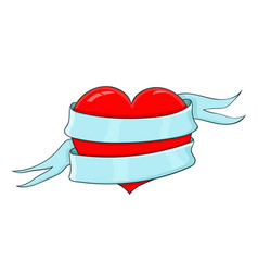 Red heart wrapped with blue ribbon banner colored vector