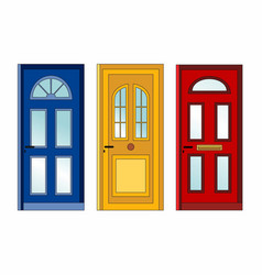 Red yellow blue doors vector