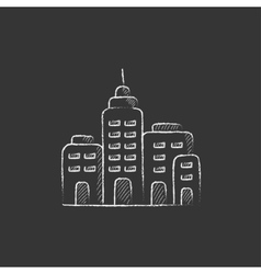 Residential buildings Drawn in chalk icon vector image