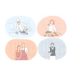 restaurant worker cook chef waiter barista vector image