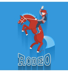 Rodeo posterCowboy on horse with text vector