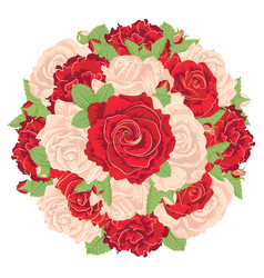 round bunch roses vector image
