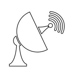 Satellite antenna disk signal trasnmission outline vector