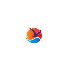 seagull beach ocean logo vector image