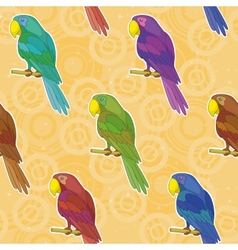 Seamless background colorful parrots vector image