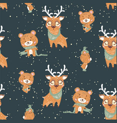 seamless pattern with cute bunny deer and bear in vector image