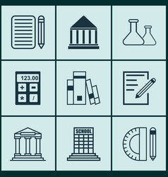set of 9 school icons includes college library vector image