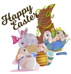 set of easter chocolate egg hunt bunny basket on vector image