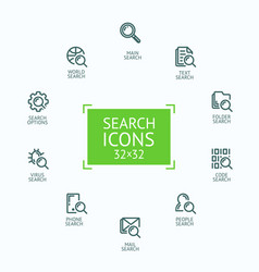 Set of fine line icons of vector