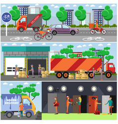 Set of food delivery posters banners in vector