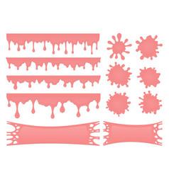Set pink bubble gum drops and splash stains vector